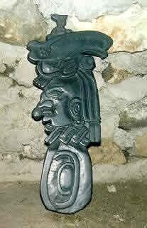 Mayan slate carving