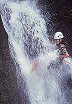 Rapelling down a waterfall in Costa Rica with Adventure Life